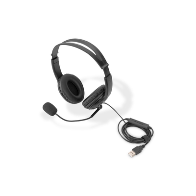 Digitus Stereo Office, On Ear, noise reduction cable 1.95 m, control unit, USB Headset - Zwart