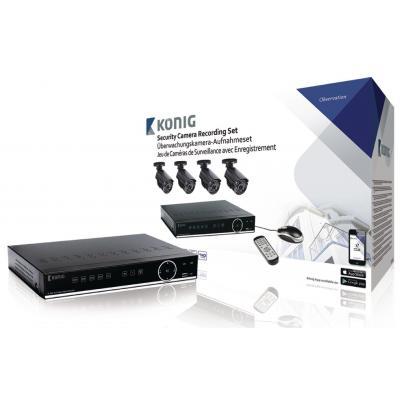 "König video toezicht kit: DVR, 500 GB, H.264, 4x BNC, 30fps, RJ45, HDMI, VGA, 12V, 1x SATA, 1/4"" CMOS, 6.0 mm ....."