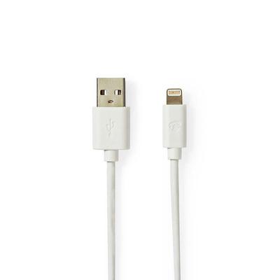 Nedis Data- en Oplaadkabel, Apple Lightning 8-pins male - USB A male, 2,0 m, Wit