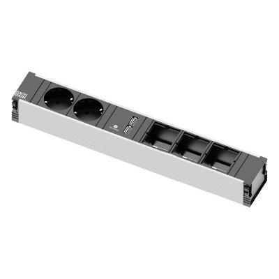 Bachmann power extrention: CONI 2x power socket 1x double USB charger 3x custom module - Zwart, Grijs