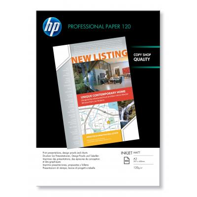 Hp papier: Professional inkjetpapier, mat, 100 vel, A3/297 x 420 mm - Wit
