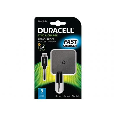 Duracell 2.4A Phone/Tablet Wall Charger Oplader - Zwart