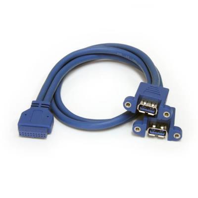 Startech.com kabel: 2-poort Inbouwpaneel USB 3.0 Kabel USB A naar Moederbord Aansluitkabel F/F - Blauw