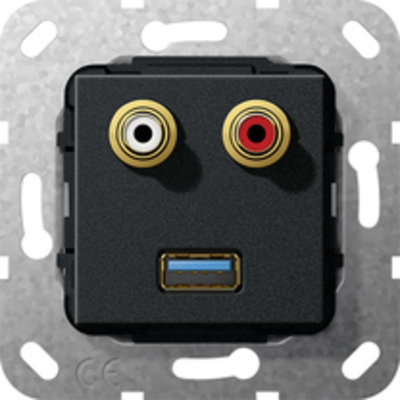 GIRA Basiselement cinch audio en USB 3.0 Type A Verloopkabel Wandcontactdoos - Zwart