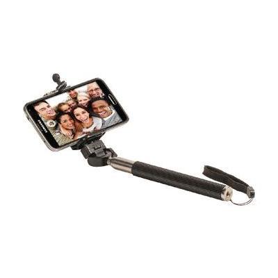 König : Uitschuifbare selfie stick antislip handvat met veiligheidskoord - Zwart, Zilver