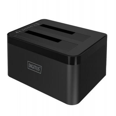 Digitus HDD/SSD docking station: USB3.0 to Dual SATA (6G) - Zwart