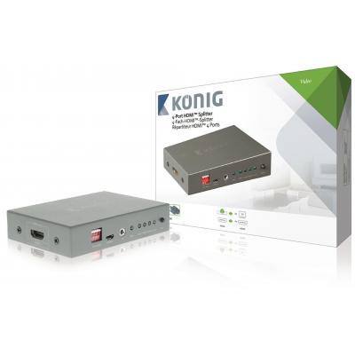 König video splitter: HDMI-Splitter HDMI-Ingang - 4x HDMI-Uitgang Donkergrijs