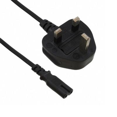 EECONN Netsnoer, Engeland (GB), BS1363 - C7, Kabel: H03VVH2-F 2x 0.75mm², Kleur: Zwart, Lengte: 1.8 meter .....