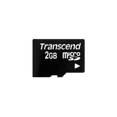 Transcend 2GB microSD with adapter Flashgeheugen - Zwart