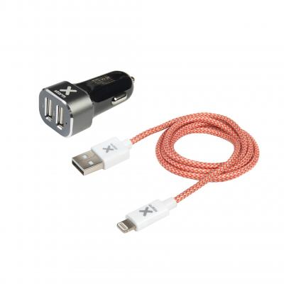 Xtorm batterij: Carplug 2 USB + Lightning cable 1m