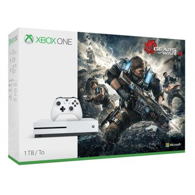 Microsoft spelcomputer: Xbox One S + Gears of War 4 - Wit