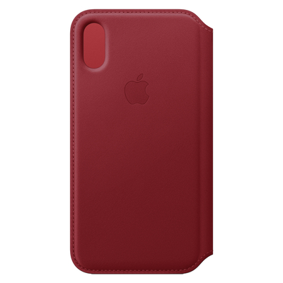 Apple mobile phone case: Leren Folio-hoesje voor iPhone XS - (PRODUCT)RED - Rood