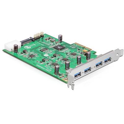 DeLOCK PCI Express Card x4 > 4 x external USB 3.0-A (Quad Channel) Interfaceadapter - Groen,Zilver