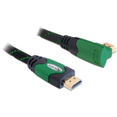 DeLOCK 2m High Speed HDMI 1.4 HDMI kabel - Zwart,Groen