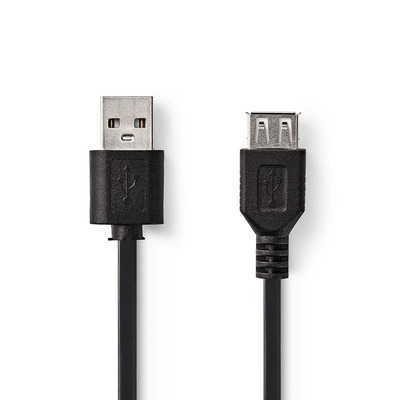 Nedis USB 2.0-Kabel, A Male - A Female, 1,0 m, Zwart USB kabel