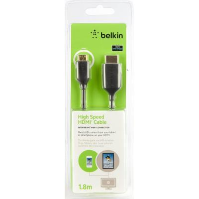 Belkin HDMI kabel: Ultra Thin Mini-HDMI to HDMI Cable 1.8m - Zwart
