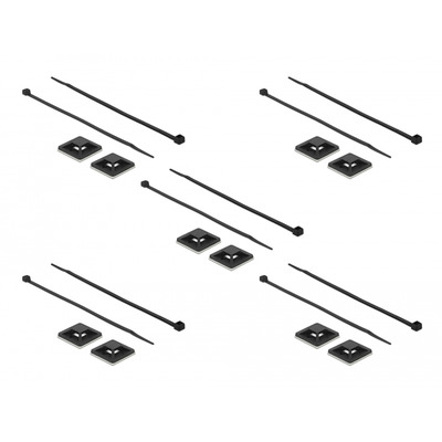 DeLOCK Cable Tie Mount 30 x 30 mm with Cable Tie L 200 x W 4.8 mm black - Zwart