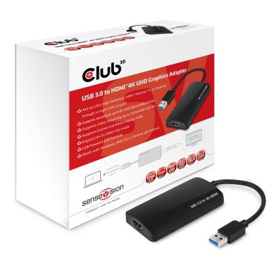 Club3d : SenseVision USB 3.0 to HDMI™ 4K UHD Graphics Adapter - Zwart