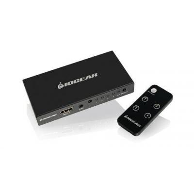 Iogear video switch: 4-Port 4K HDMI Switch with Remote - Grijs