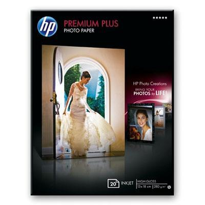 Hp fotopapier: Premium Plus High-gloss Photo Paper-20 sht/13 x 18 cm borderless - Wit