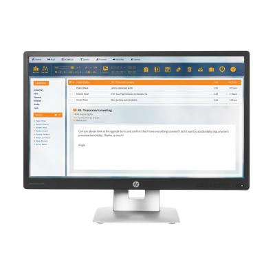 Hp touchscreen monitor: EliteDisplay E230t - Zwart, Zilver