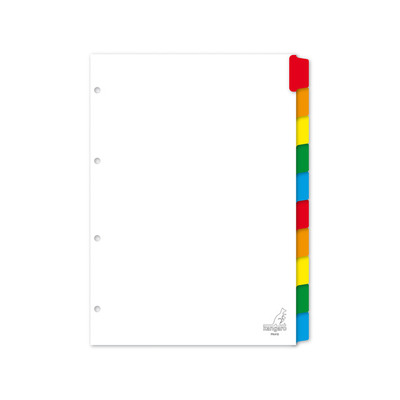 Kangaro indextab: tabblad A4 blanco karton 190grs wit 4-gaats 10-delig