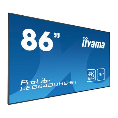 "Iiyama 86"", 3840 x 2160, 4K UHD, 16:9, 410 cd/m², 8 ms, IPS LED, matte finish, VGA, HDMI, DisplayPort, RS-232, ....."
