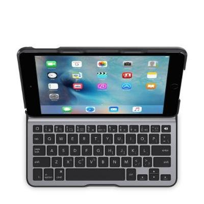 Belkin mobile device keyboard: Ultimate Lite iPad Mini 4 keyboard UK - Zwart, Grijs