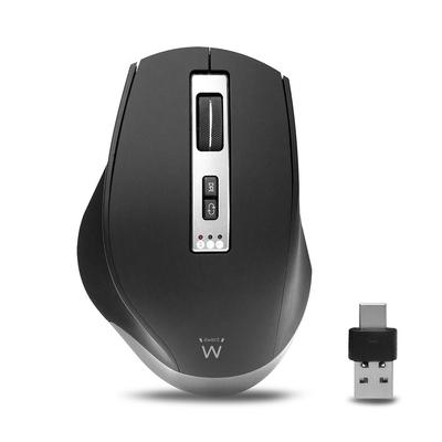 Ewent Wireless Multi-Connect 2400 dpi Muis - Zwart