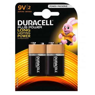 Duracell batterij: Plus Power alkaline 9V-batterijen, verpakking van 2 - Zwart, Goud