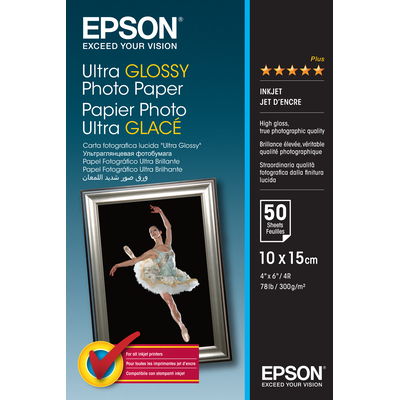 Epson Ultra Glossy Photo Paper - 10x15cm - 50 Vellen Fotopapier