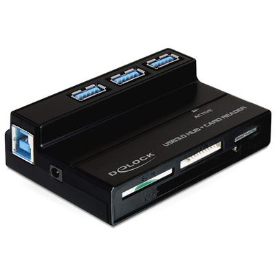DeLOCK USB 3.0 Card Reader All in 1 + 3 Port USB 3.0 Hub Geheugenkaartlezer - Zwart