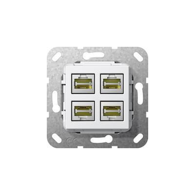 GIRA Basiselement Modular Jack RJ45 Cat.6 10 GB Ethernet viervoudig Koppeling wandcontactdoos - Wit