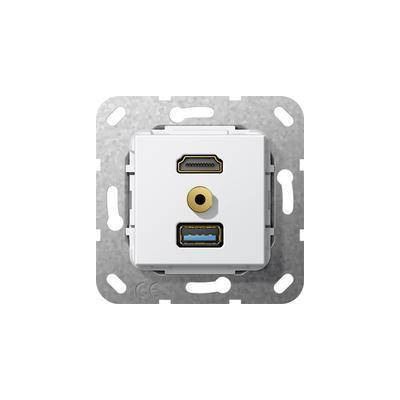 "GIRA Basiselement HDMI ""High Speed with Ethernet"", USB 3.0 Type A en mini-jack 3.5 mm Verloopkabel wandcontactdoos"