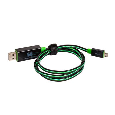 RealPower USB A/Micro-USB B 0.75m USB kabel - Zwart, Groen