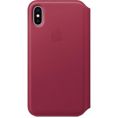 Apple mobile phone case: Leren Folio-hoesje voor iPhone X - Bessenrood