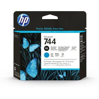 HP 744 Printkop - Cyaan, Foto zwart