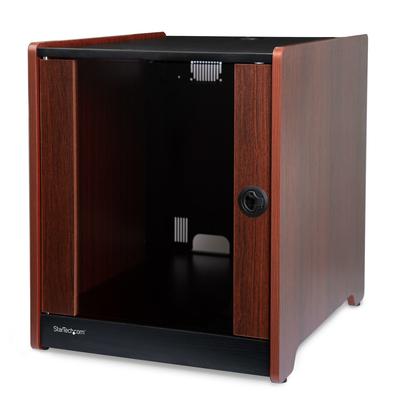 StarTech.com 12U serverkast 20.6 inch diep houten afwerking zwenkwielen plat verpakt Rack - Zwart