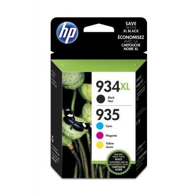 HP inktcartridge: 934XL originele high-capacity zwarte/935XL cyaan/magenta/gele inktcartridges, 4-pack - Zwart, Cyaan, .....