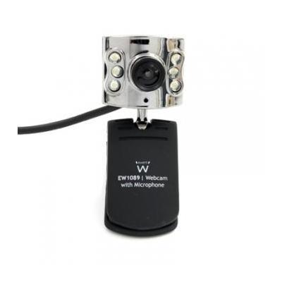 Ewent webcam: 640x480, 30 fps, USB 2.0, 6x led - Zwart, Metallic