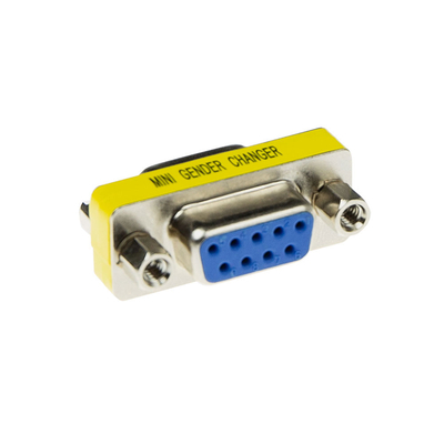 ACT D-sub Adapter 9 polig female naar 9 polig female Kabel adapter - Roestvrijstaal,Geel