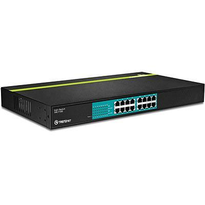 Trendnet 16-Port 30 Watt 10/100Mbps PoE+ Switch - Zwart