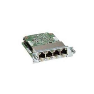 Cisco netwerkkaart: 4-port Gigabit EtherSwitch 10/100/1000BASE-TX autosensing EHWIC with POE, Spare - Zwart, Groen, .....
