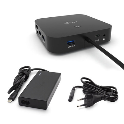 I-tec USB-C Dual Display with Power Delivery 65W + Universal Charger 77 W Docking station - Zwart