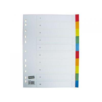 Staples schutkaart: Tabblad SPLS A4 11r kleuren pp/set 10
