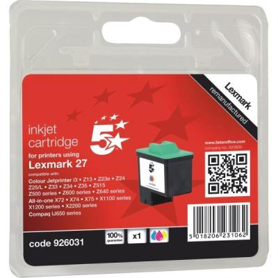 5star inktcartridge: 5 Star Compatible Inkjet Cartridge Page Life 140pp Colour [for No.27 Lexmark 10N0227] - Zwart, .....