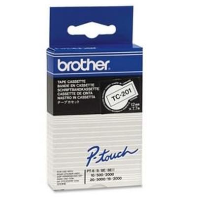 Brother Gelamineerd tape 12mm, zwart/wit Labelprinter tape