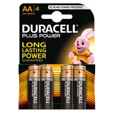 Duracell batterij: Plus Power alkaline AA-batterijen, verpakking van 4 - Zwart, Goud