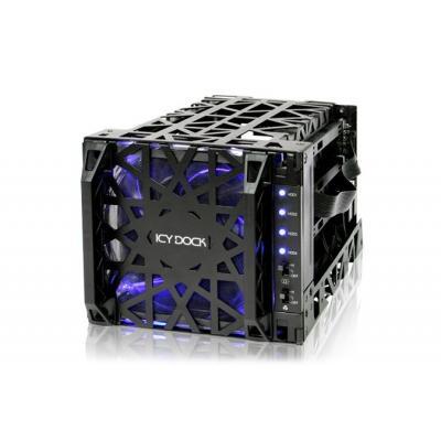 """Icy Dock 4 x 3.5"""" SATA 1.5 / 3 / 6 Gbit/s, 3 x 13.335 cm (5.25"""") , 2 x 15 pin SATA, 12 cm Blue LED, Hot Swap, ....."""