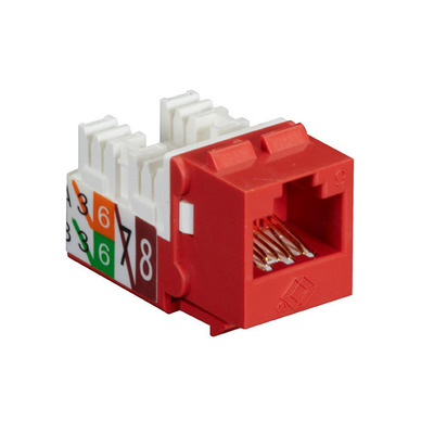 Black Box GigaTrue2 CAT6 Jacks, Universal Wiring, Component Level, 25-Pack, Red - Rood